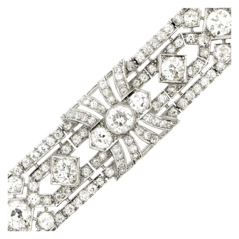 1920s Exceptional Diamond Platinum Bracelet  1