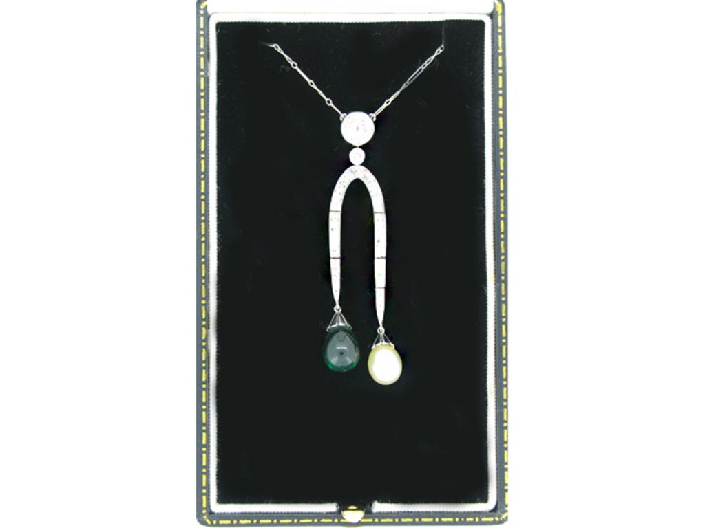 1920s Natural Unenhanced Emerald & Pearl Diamond Double Drop Necklace 3
