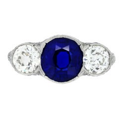 Belle Epoque Natural Unenhanced Sapphire Diamond Ring c1905