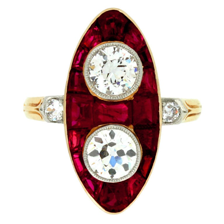Antique Natural Unenhanced Marquise Ruby Diamond Ring c1900