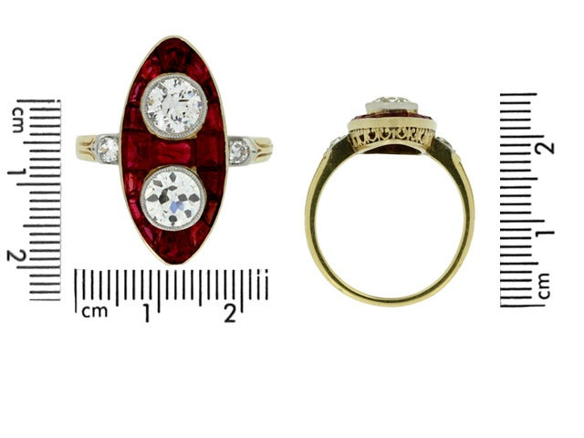 Antique Natural Unenhanced Marquise Ruby Diamond Ring c1900 4