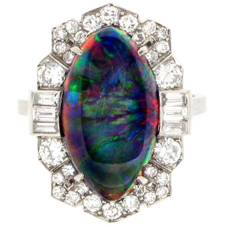 Superb Art Deco Black Opal Diamond Ring For Sale at 1stdibs