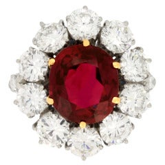 Natural Unenhanced Siam Ruby and Diamond Cluster Ring, circa 1960