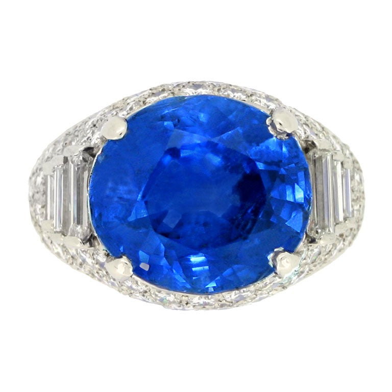Natural Sapphire & Diamond cluster ring by Oscar Heyman Brothers circa 1960s