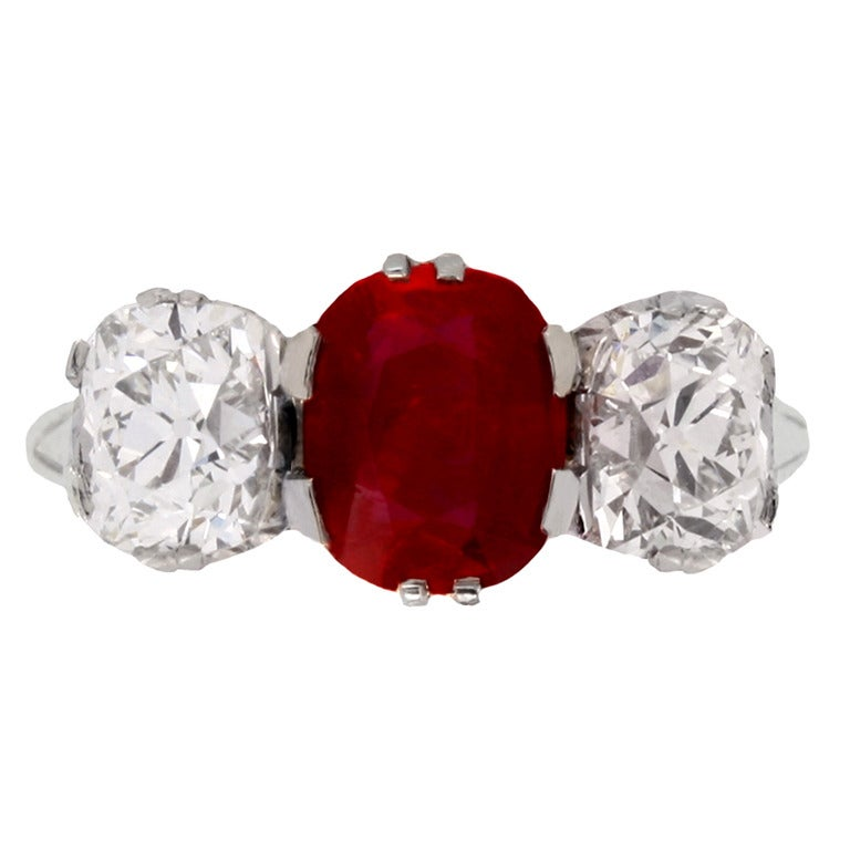 Natural Burmese Ruby Diamond Three Stone Ring c1910