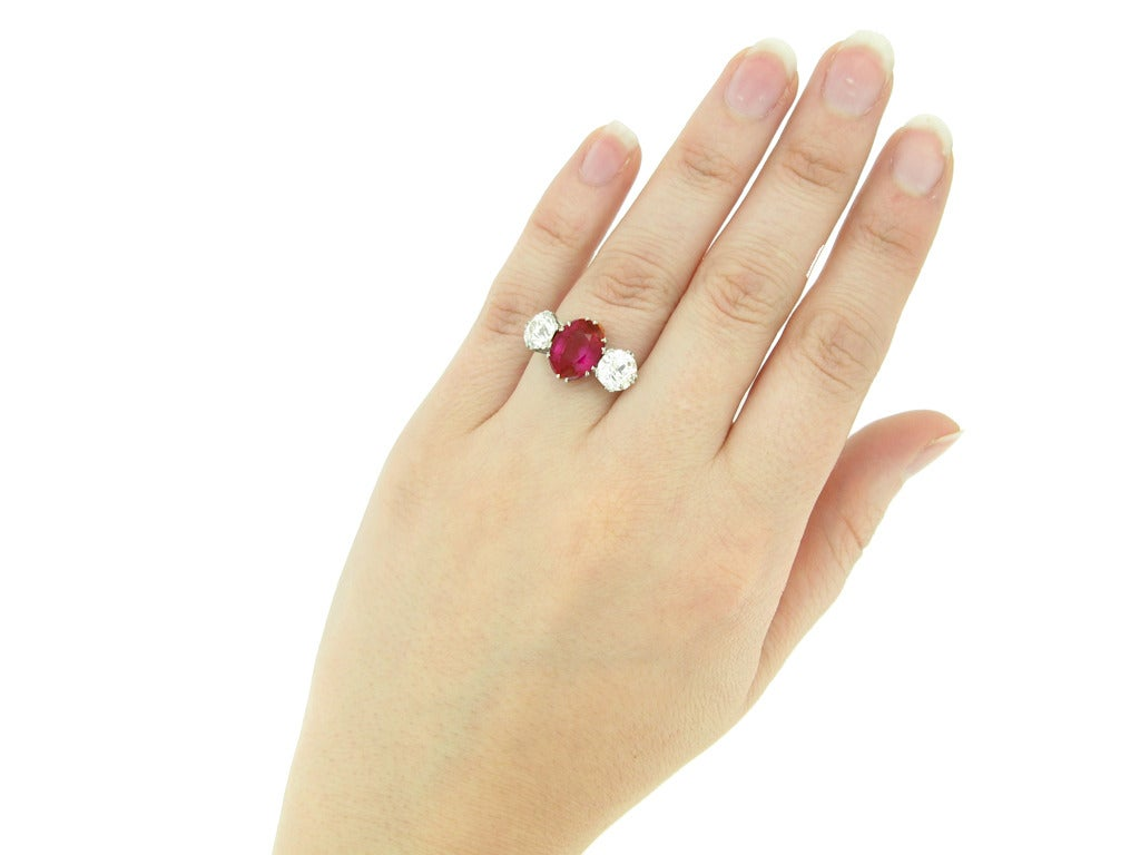 Women's Natural Burmese Ruby Diamond Ring c1915 For Sale