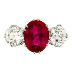Natural Burmese Ruby Diamond Ring c1915