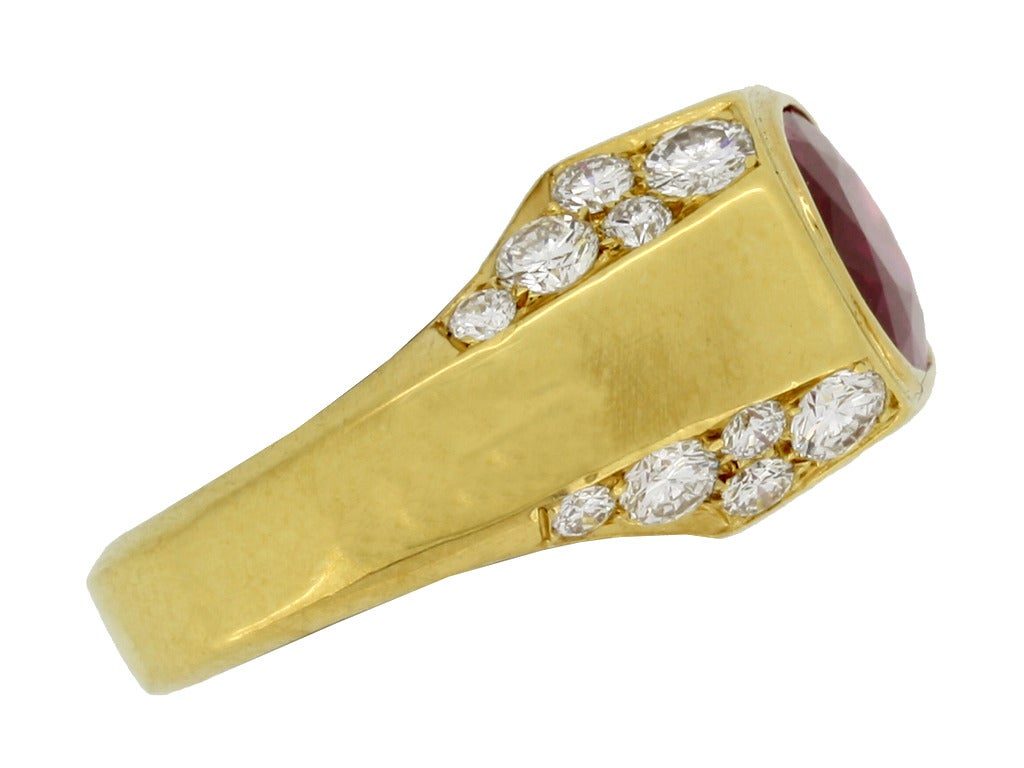 Natural Unenhanced Burmese Ruby Diamond Ring by Bulgari c1970s 2