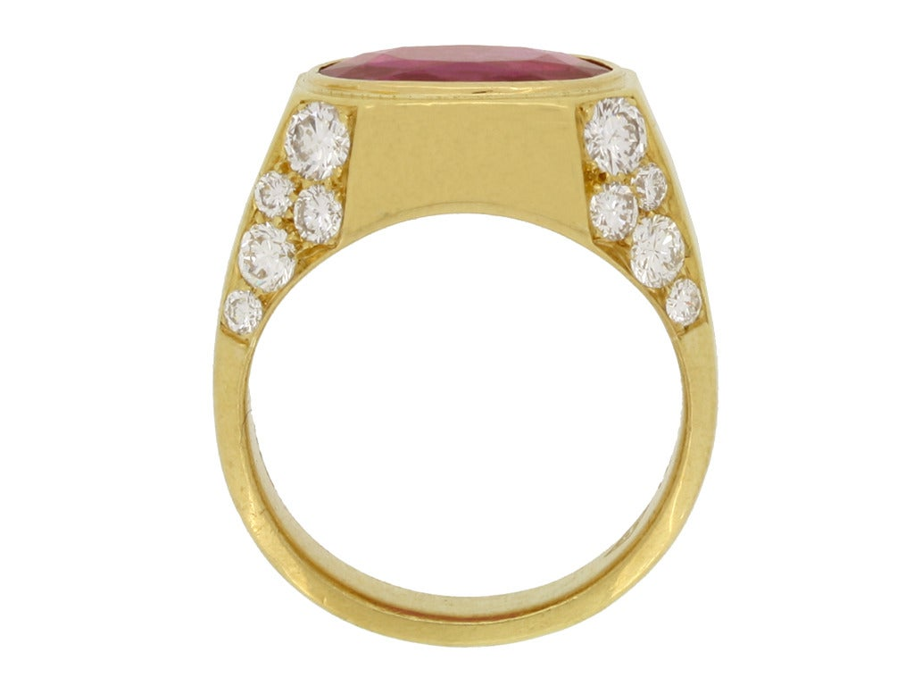 Natural Unenhanced Burmese Ruby Diamond Ring by Bulgari c1970s 4