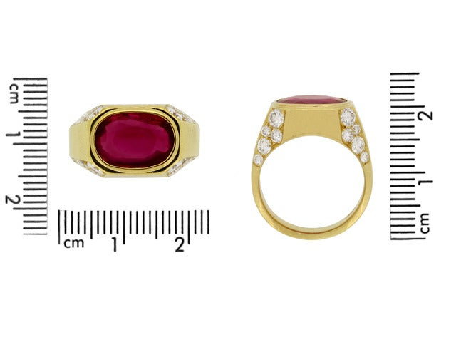 Natural Unenhanced Burmese Ruby Diamond Ring by Bulgari c1970s 5