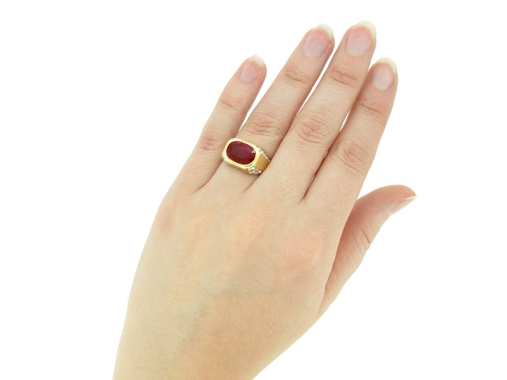 Natural Unenhanced Burmese Ruby Diamond Ring by Bulgari c1970s 6