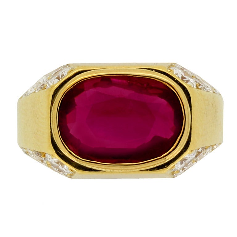 Natural Unenhanced Burmese Ruby Diamond Ring by Bulgari c1970s 1