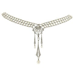 Belle Epoque Pearl Diamond Sautoir c1905