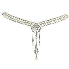 Belle Epoque Pearl Diamond Sautoir c1905