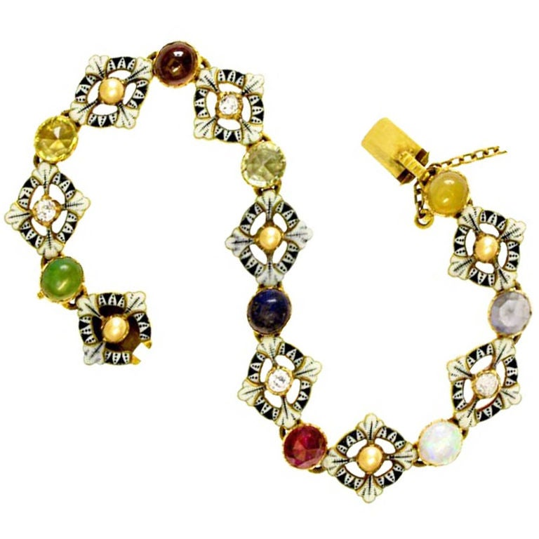 CARLO and ARTHUR  GIULIANO  Gold Enamel Gem Set Bracelet  1