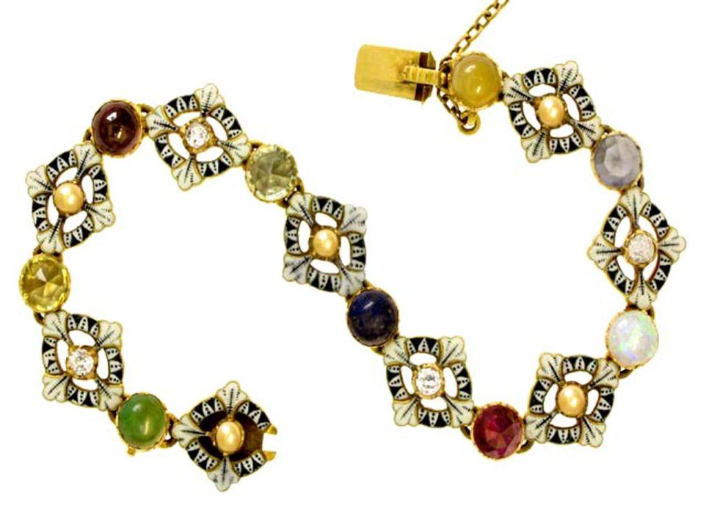 CARLO and ARTHUR  GIULIANO  Gold Enamel Gem Set Bracelet  3