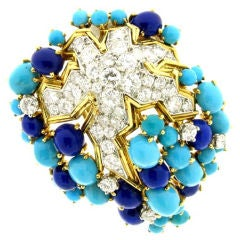 Boucheron Paris Turquoise Lapis Diamond Brooch