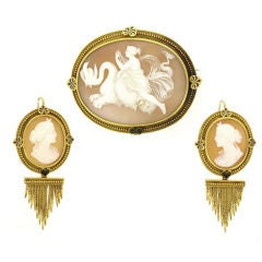 John Brogden shell cameo brooch and earrings, English, circa 1870.