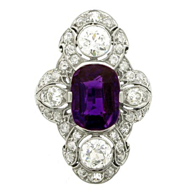antique unenhanced amethyst and ring by
