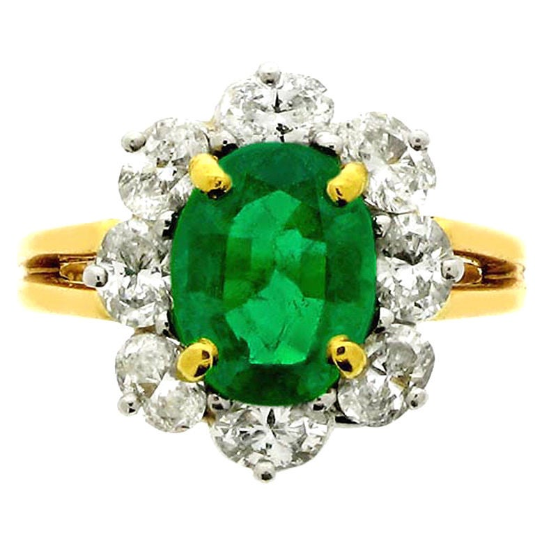 Emerald and diamond cluster ring by Oscar Heyman Bros at ...