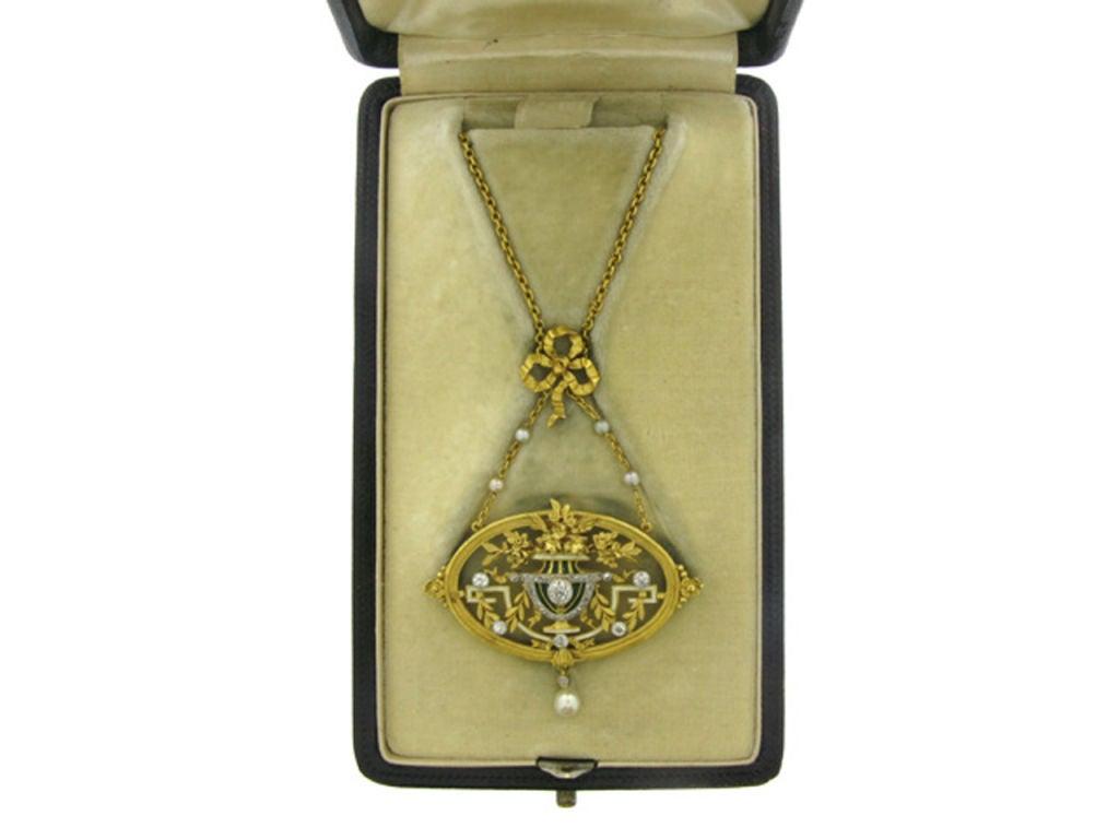 Art Nouveau pendant necklace/brooch by Gautrait 3