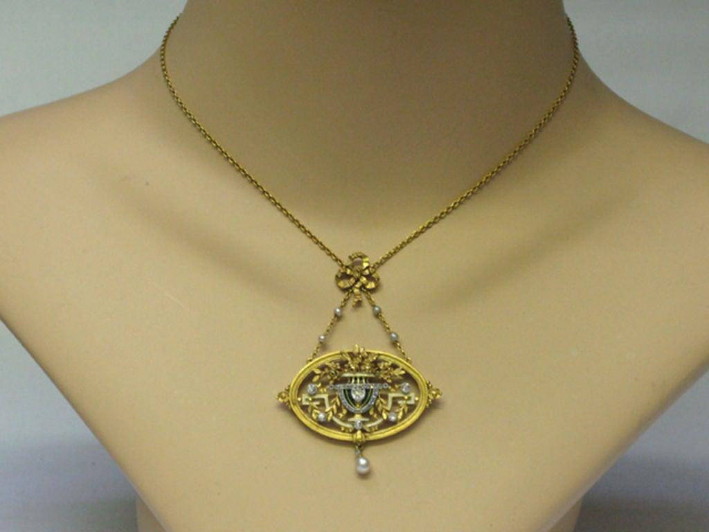 Art Nouveau pendant necklace/brooch by Gautrait 5