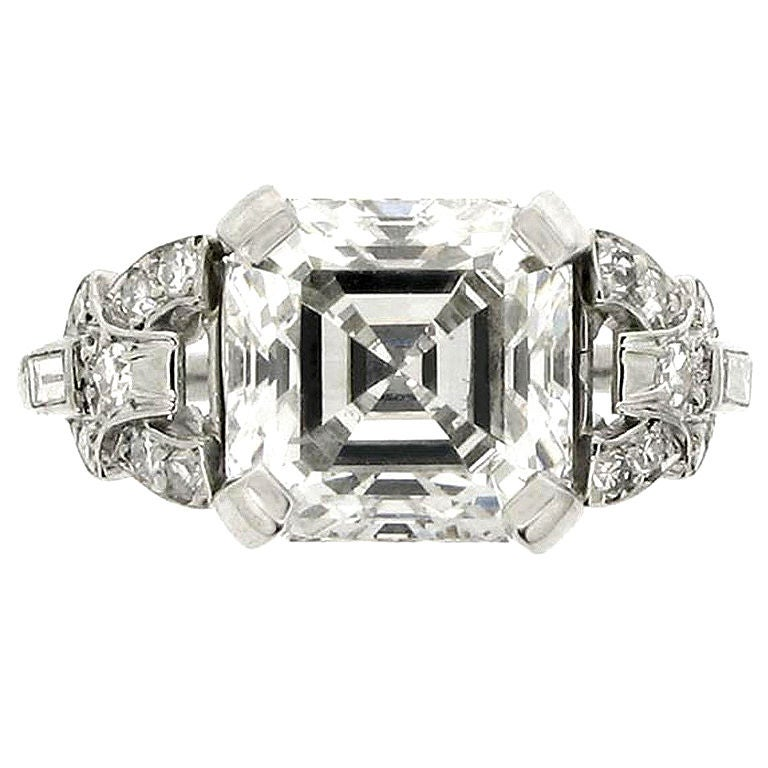 deco asscher cut ring at 1stdibs