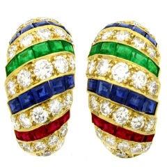 Cartier London Diamond Emerald Ruby Gold Earrings