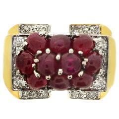 Trabert& Hoeffer/Mauboussin Retro Natural Unenhanced Ruby Diamond Ring