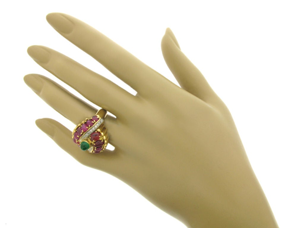Women's Marchak cabochon emerald, carved ruby and diamond ring, French, circa 1950. For Sale