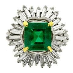 Natural Unenhanced Emerald and Diamond Ballerina Cluster Ring by Boucheron