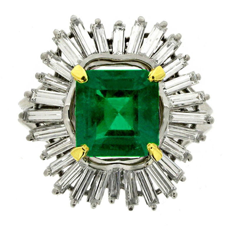 Natural Unenhanced Emerald and Diamond Cluster Ring by Boucheron, circa 1960.