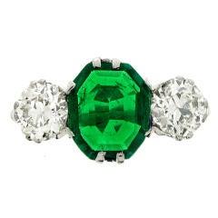 Edwardian Old Mine Natural Unenhanced Emerald Diamond Three Stone Ring