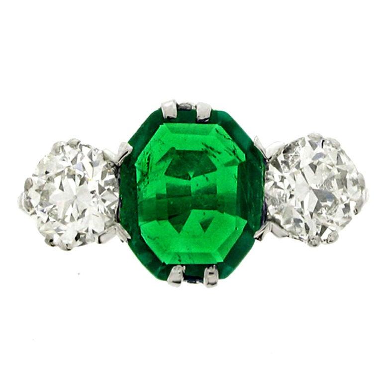 Edwardian Old Mine Natural Unenhanced Emerald Diamond