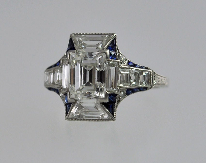 deco emerald cut and sapphire ring at 1stdibs