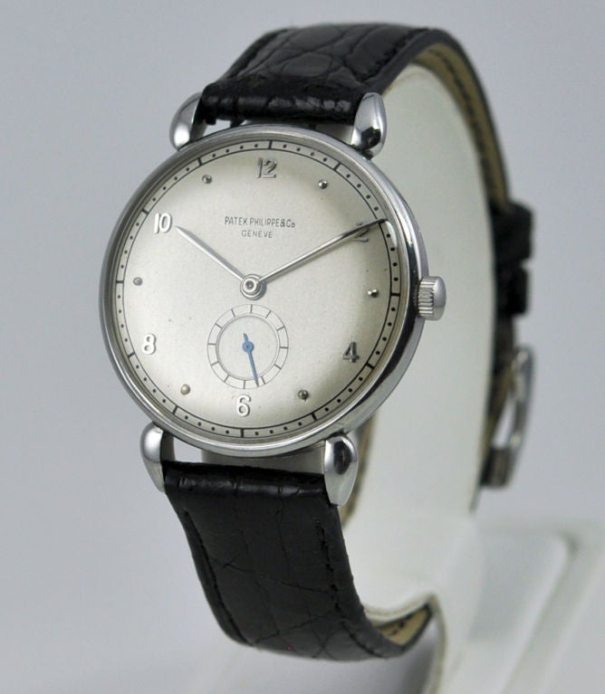 Patek Philippe watches in this style in Stainless Steel are very rare.  32mm case.