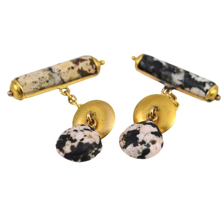 Antique Jasper and 18 Karat Yellow Gold Cufflinks