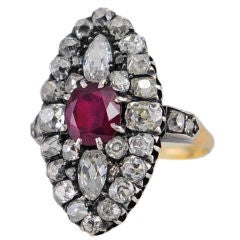 Victorian 1.67 Carat GIA Natural Ruby and Old Mine Cut Diamond Cluster Ring