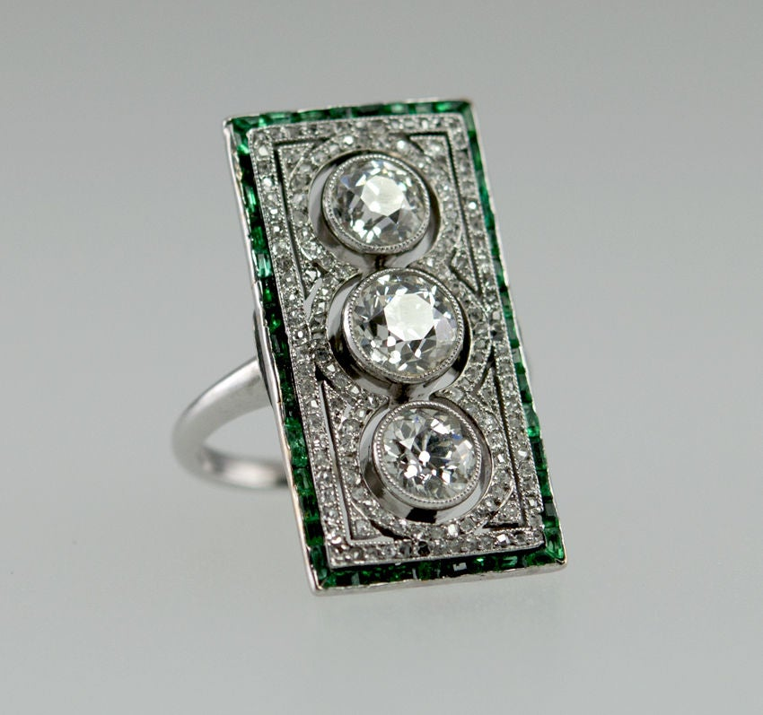 large rectagular and emerald ring at 1stdibs