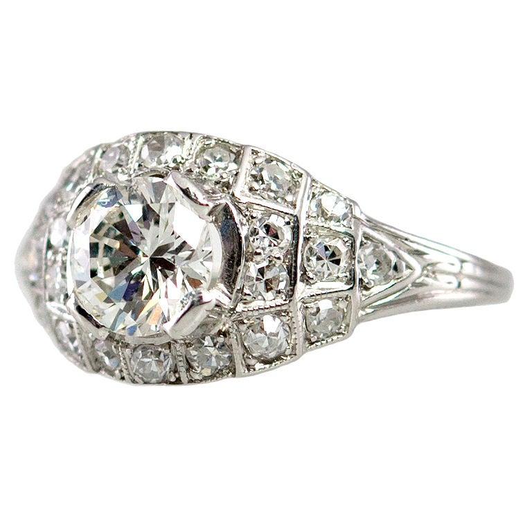 Art Deco 0.80 Carat Old European Cut Diamond and Platinum Ring