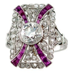 Edwardian Diamond and Ruby Platinum Ring, circa 1910