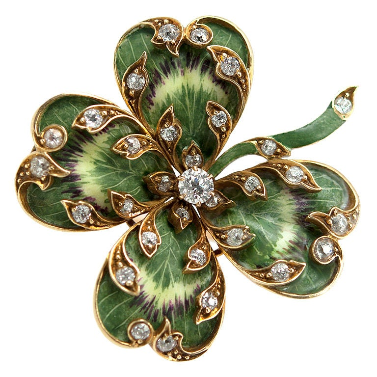 Lucky Four Leaf Clover Pin At 1stdibs