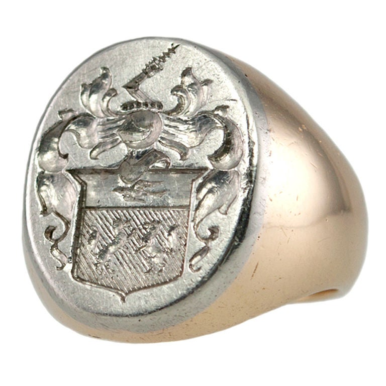 platinum and gold crest ring at 1stdibs