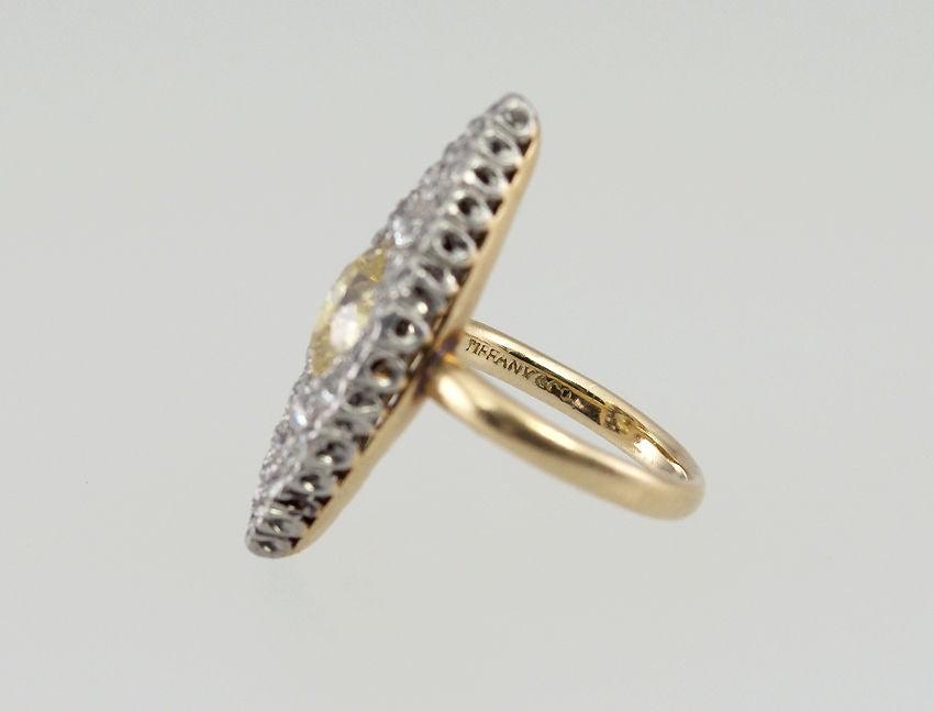 Old European Cut TIFFANY Fancy Yellow Diamond Ring For Sale