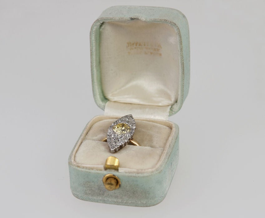 TIFFANY Fancy Yellow Diamond Ring In Excellent Condition For Sale In Los Angeles, CA