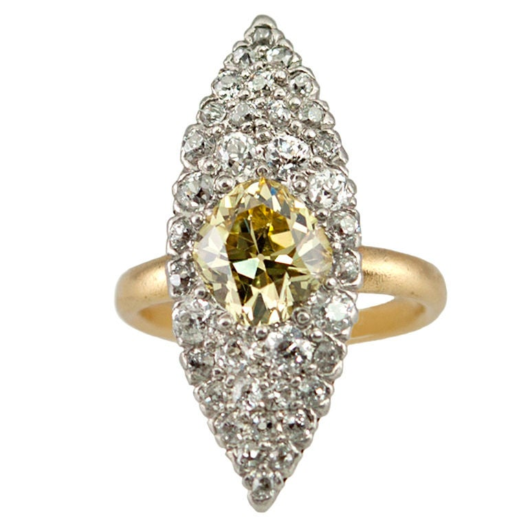 TIFFANY Fancy Yellow Diamond Ring For Sale at 1stdibs