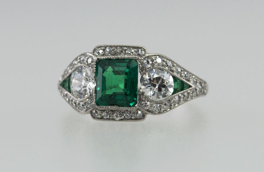 je caldwell deco emerald ring at 1stdibs