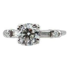 GIA Certified 1.07 Carat Old European Cut Diamond and Platinum Engagement RIng