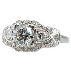 1.17 Carat Diamond Art Deco Platinum Engagement Ring, circa 1930