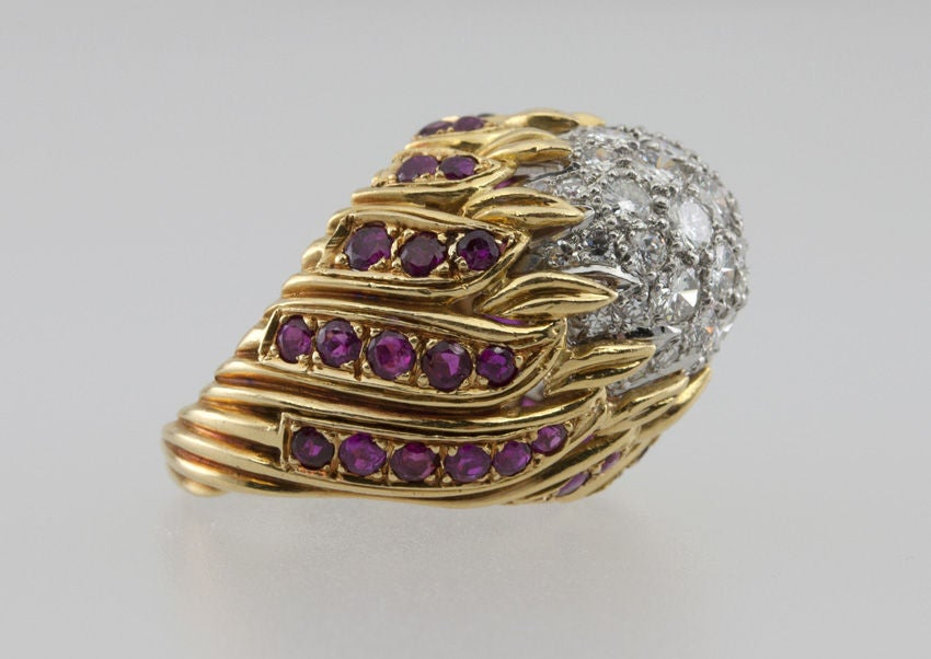 Modern Ruby Diamond Gold Flame Cocktail Ring For Sale